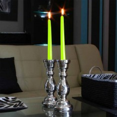 Dinner Taper Candles - Light Green lit