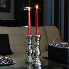Dinner Taper Candles - Metallic Red lit