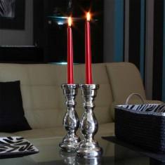 Dinner Taper Candles - Metallic Red lit