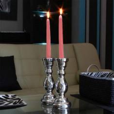 Dinner Taper Candles - Light Pink lit