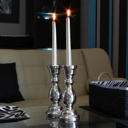 Dinner Taper Candles - Silver lit