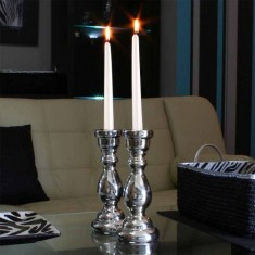 Dinner Taper Candles - White Pearl lit