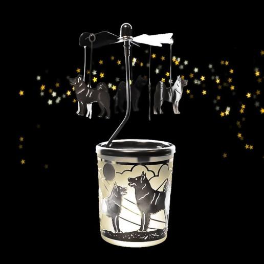 Dog - Spinning Tea Light Candle Holder