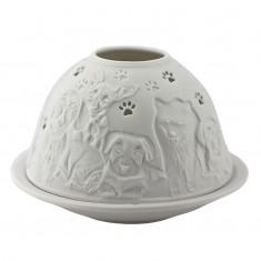 Dogs - Glowing Dome Porcelain Tea Light Holder back