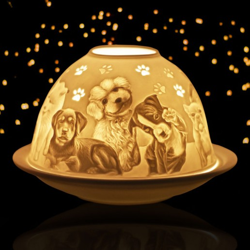 Dogs - Glowing Dome Porcelain Tea Light Holder