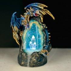 Dragon & Crystal Cave LED Backflow Incense Cone Burner lit