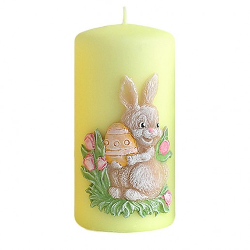 Easter Bunny Pillar Candle Decoration Green