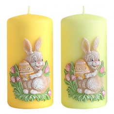 Easter Bunny Pillar Candle Decoration Yellow - Green