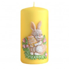 Easter Bunny Pillar Candle Decoration Yellow