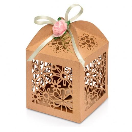 Favour Box Laser Flower Brown