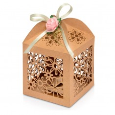 Favour Box Laser Flower Brown