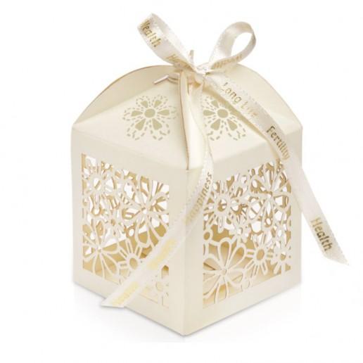Favour Box Laser Flower Ivory