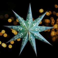 'Ganesh' Aqua - Large Paper Star Light lit.jpg