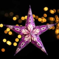 'Ganesha' Purple Glitter - Large Paper Star Light lit