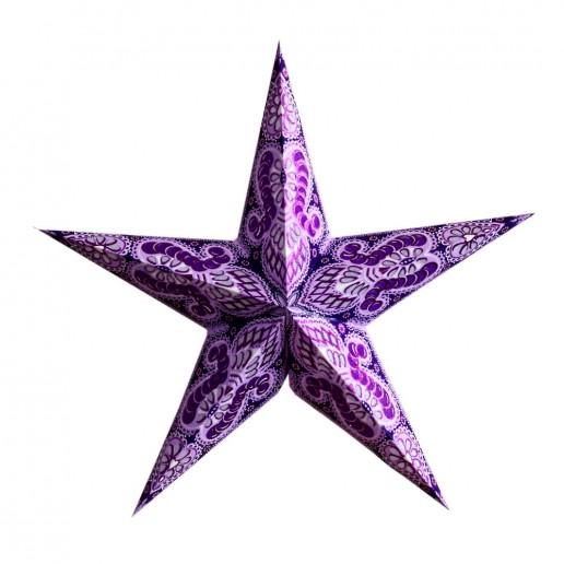'Ganesha' Purple Glitter - Large Paper Star Light