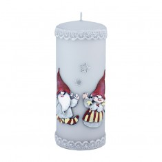 Gnomes Grey Large Pillar Candle