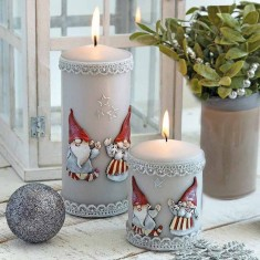 Gnomes Grey Pillar Candles Lifestyle