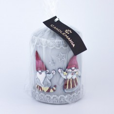 Gnomes Grey Small Pillar Candle wrapped