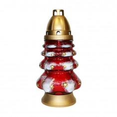 grave lanterns christmas tree red