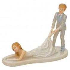 Groom Dragging Bride Funny Cake Topper