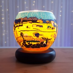 Harvest lit - Glowing Globe Glass Tea Light Candle Holder
