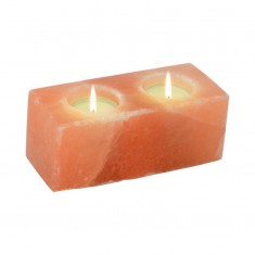 Himalayan Salt Tea Light Candle Holder - Twin Cube