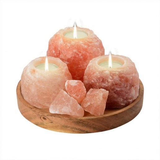 Himalayan Tea Light Candle Holders x3 on Wooden Tray