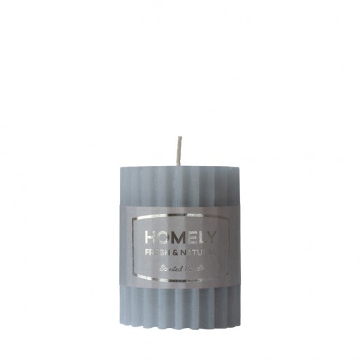 Homely Grey - Small Scented Grooved Pillar Candle