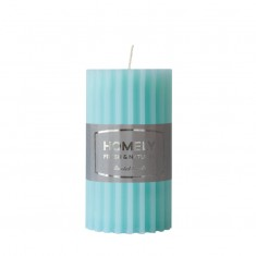 Homely Light Blue - Large Scented Grooved Pillar Candle