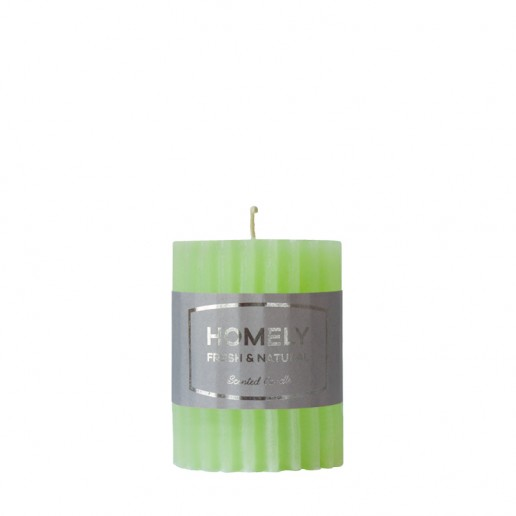 Homely Light Green - Small Scented Grooved Pillar Candle
