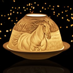 Horses - Glowing Dome Porcelain Tea Light Holder