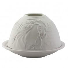 Horses - Glowing Dome Porcelain Tea Light Holder front