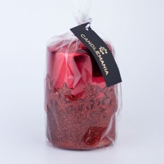 Ice Star Red Small Pillar Candle wrapped