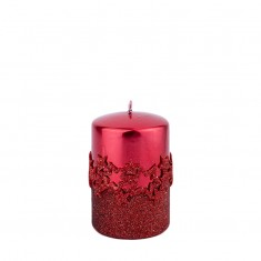 Ice Star Red Small Pillar Candle