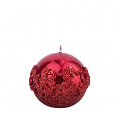 Ice Star Red Sphere Candle