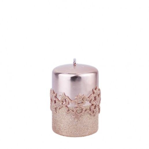 Ice Star Rose Gold Small Pillar Candle