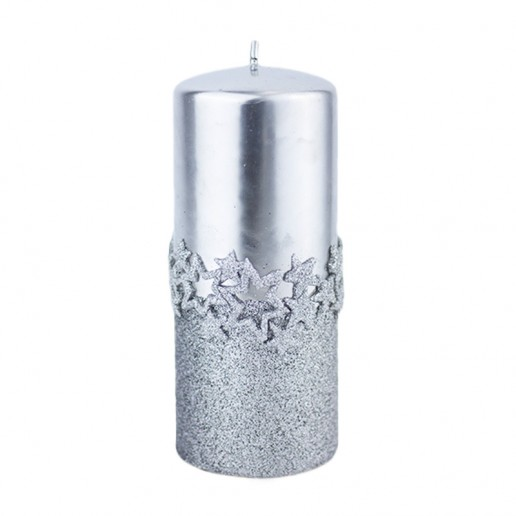 Ice Star Silver Large Pillar Candle