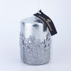 Ice Star Silver Small Pillar Candle wrapped