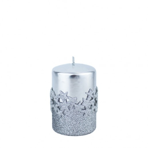 Ice Star Silver Small Pillar Candle