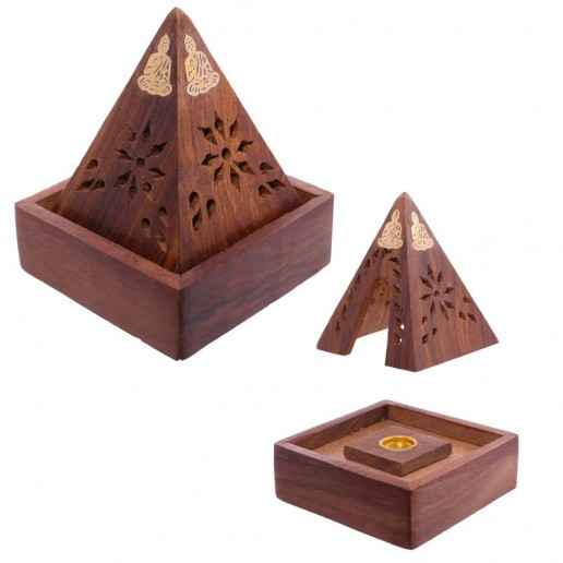 Pyramid Incense Cone Burner Box w Buddha