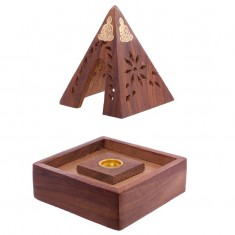 Pyramid Incense Cone Burner Box w Buddha open