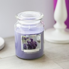 Lavender Scented Candle In Large Glass Jar lifestyle