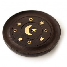 Incense Stick Round Wooden Holder Ash Catcher - Black with Brass Crescent Moon angle