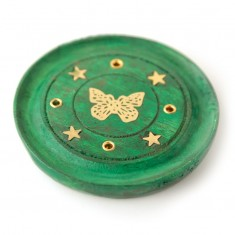 Incense Stick Round Wooden Holder Ash Catcher - Green with Brass Butterfly angle