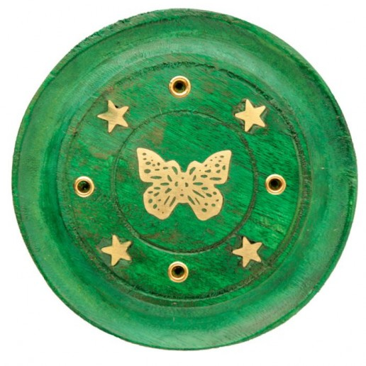 Incense Stick Round Wooden Holder Ash Catcher - Green with Brass Butterfly