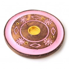 Incense Stick Round Wooden Holder Ash Catcher - Pink With Flowers 1