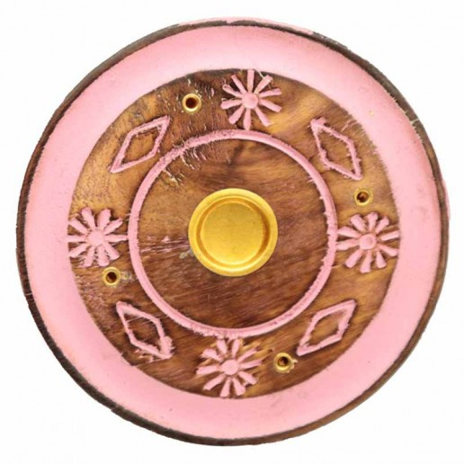 Incense Stick Round Wooden Holder Ash Catcher - Pink With Flowers