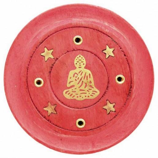 Incense Stick Round Wooden Holder Ash Catcher - Red with Brass Buddha inlay