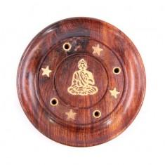Incense Stick Round Wooden Holder Ash Catcher - Sheesham Wood with Brass Buddha