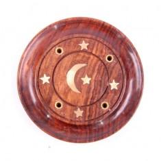 Incense Stick Round Wooden Holder Ash Catcher - Sheesham Wood with Brass Crescent Moon